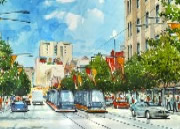 Trams in the city watercolour